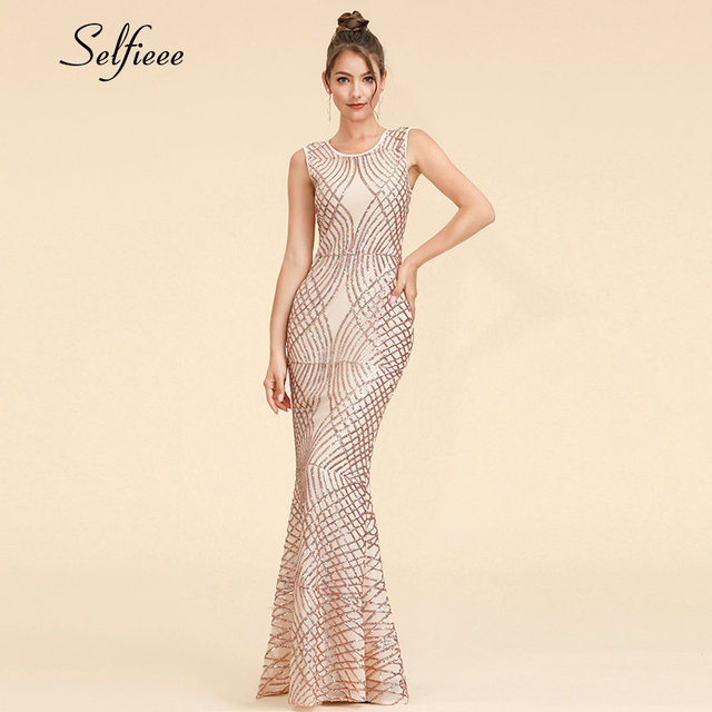 Sexy Sparkle Maxi Dress Mermaid Sequined V Neck Sleeveless Women Dress Elegant Evening Party Dress Vestidos De Fiesta De Noche