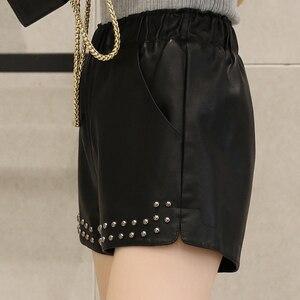 Image 4 - Женские шорты из ПУ кожи, с заклепками и эластичным поясом