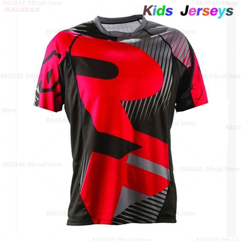2019 Kids Short Sleeve Cycling Jersey Offroad Bicycle Jersey MTB Downhill Shirt Summer Boys Breathable Mountain Bike Clothing