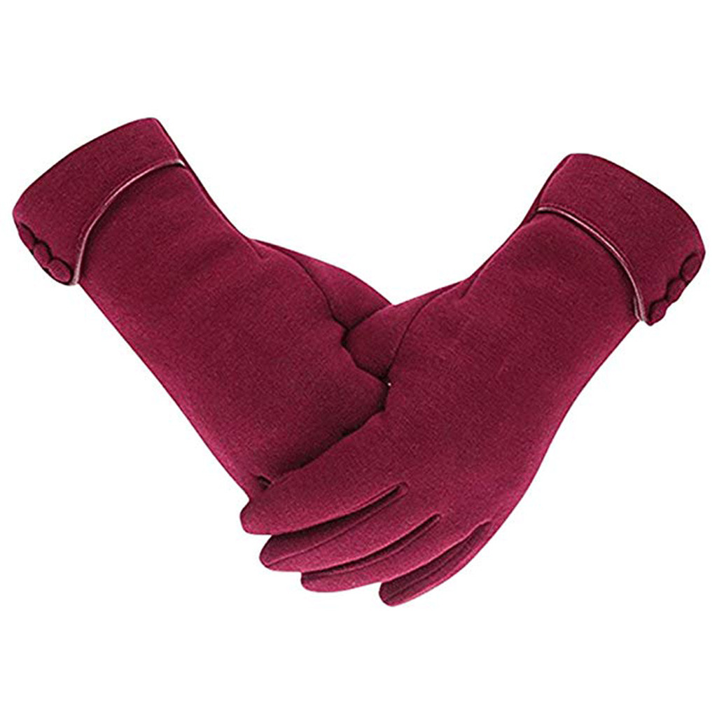 Womens Chic Elegant Using Phone Gloves Thick Fleece Lined Windproof Winter Warm Gloves Guantes Invierno Mujer