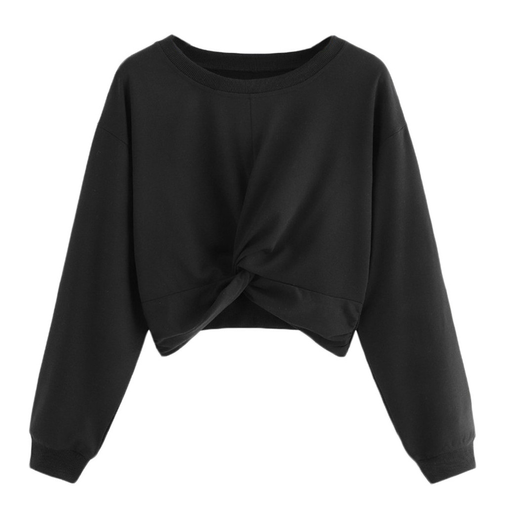 Long Sleeves Autumn Winter Women's Sweatshirt Bow Twist Round Collar Pure Color Black Hatless Female Shirt Tops футболка женская