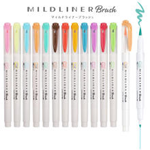 5Pcs/Kotak Zebra Mildliner Ganda Kepala Marker Pen Gambar Highlighter Kaligrafi Pena Lembut Sikat Pena Seni Supply Kawaii Stationery(China)
