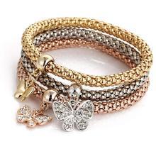FEECOLOR 3Pcs/set Crystal Butterfly Bracelet; Bangle Jewelry Women