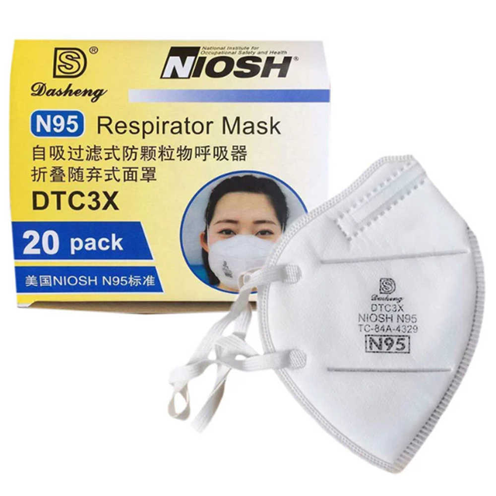 Dasheng 20pcs DTC3X NIOSH N95 Respirator Mask CE FDA Personal Protective Anti-fog Dustproof Function US Standard N95 Face Masks