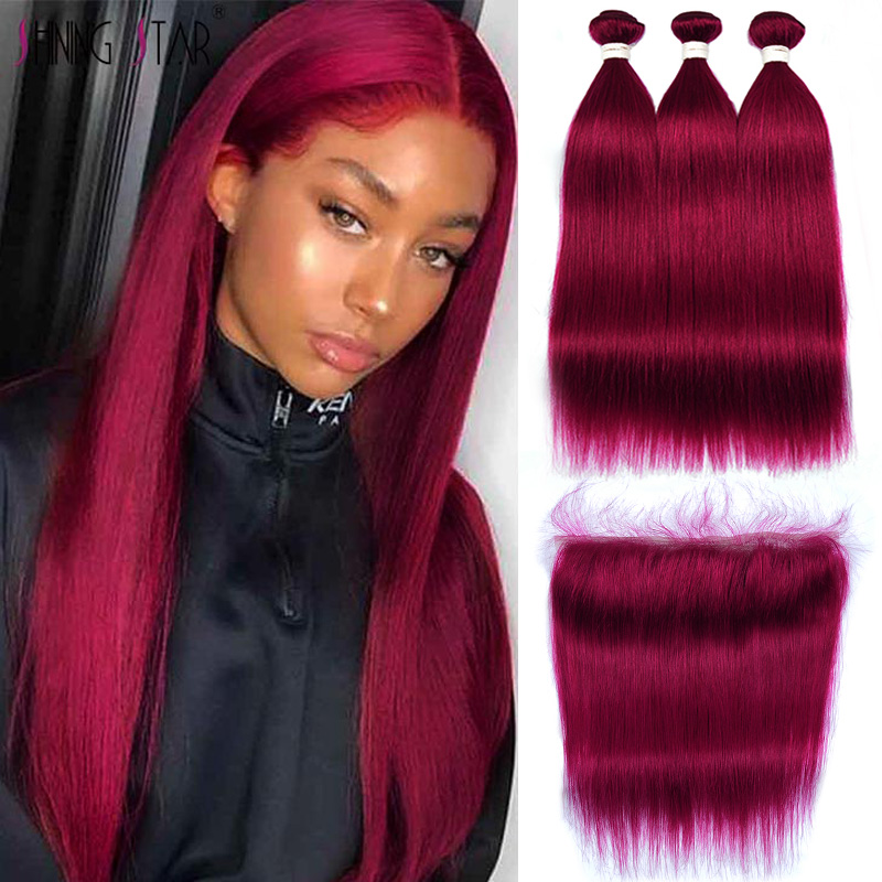 13*4 Lace Front With Bundles Straight 99J Bundles With Clousre Peruvian Burgundy Human Hair Bundles With Front Shining Star Remy