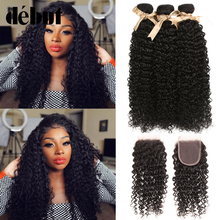 Debut Kinky Curly Bundles With Closure Brazilian Hair Weave 3 Bundles With 4*4 Lace Closure Curly Human Hair Bundles Non Remy pinshair hair red bundles with closure burgundy 99j brazilian kinky curly human hair 3 bundles with closure non remy red bundles