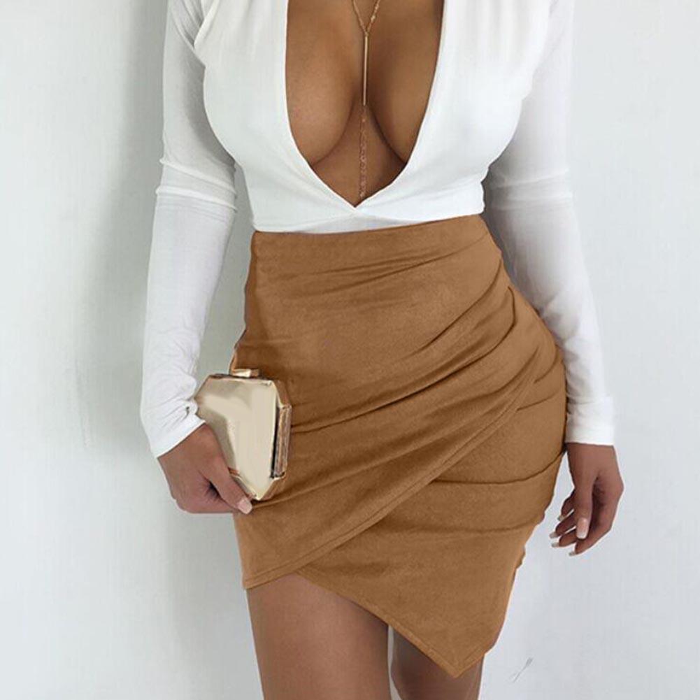 Summer Sexy Women Club High Waist Irregular Suede Leather Bodycon Mini Skirt