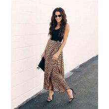 Meihuida Women Leopard Print Wrap Over Aysmmetric Skirt High Waist Chiffon Long