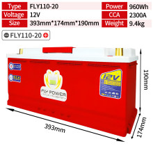 FLY110-20 LiFePO4 batterie 12V 960Wh CCA2300A avec démarreur de saut Protection Automobile 12v batterie au lithium LiFePO4 batterie 12V(China)