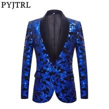 PYJTRL Sequins Velvet Series Men Royal Blue Black Velvet Floral Shiny Sequins Blazers Wedding Groom Prom Singer Slim Suit Jacket