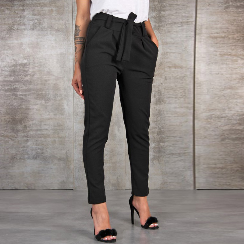 Women Casual Pants High Waist Lady's Pants Women's Clothing Lace-up Bandage Long Wide Trousers Pantalones Mujer #YJ