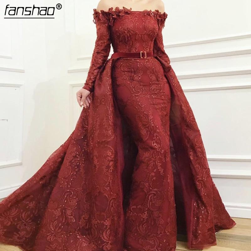 Burgundy Detachable Train Muslim Evening Dresses Off Shoulder Vestidos Islamic Dubai Saudi Arabic Long Evening Gown Prom Dress