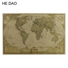 Mapa grande Vintage del mundo suministros de oficina cartel antiguo detallado Tabla de pared papel Retro papel Kraft mate 28*18 pulgadas mapa del mundo