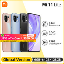 Versione globale Xiaomi Mi 11 Lite Smartphone Snapdragon 732G Octa Core 64GB/128GB 4520mAh NFC 64MP fotocamera posteriore