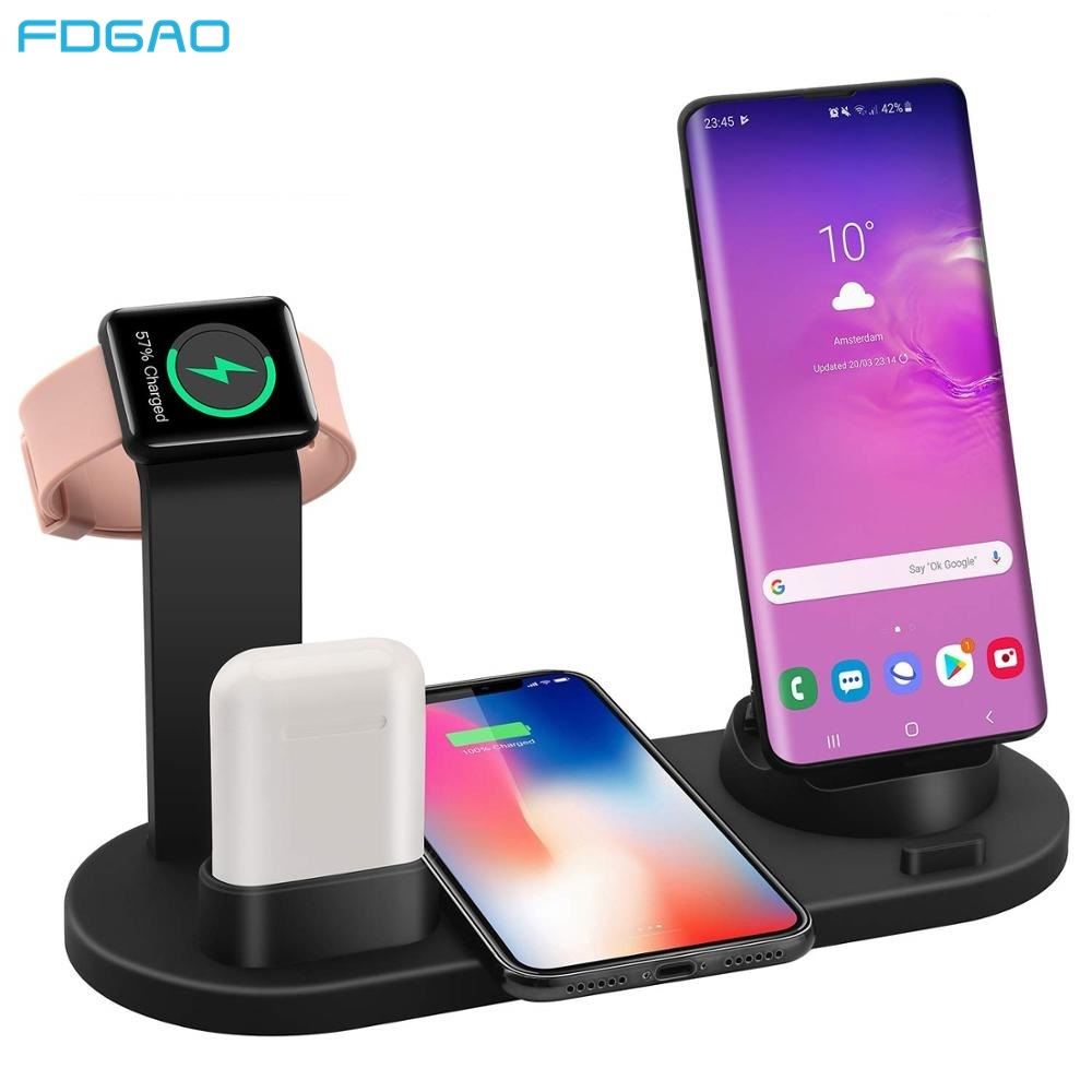 FDGAO Qi Wireless Charging Station For Apple Watch IPhone 11 X XS XR MAX 8 7 6s Plus Airpods 10W Fast Charger Dock Stand Holder