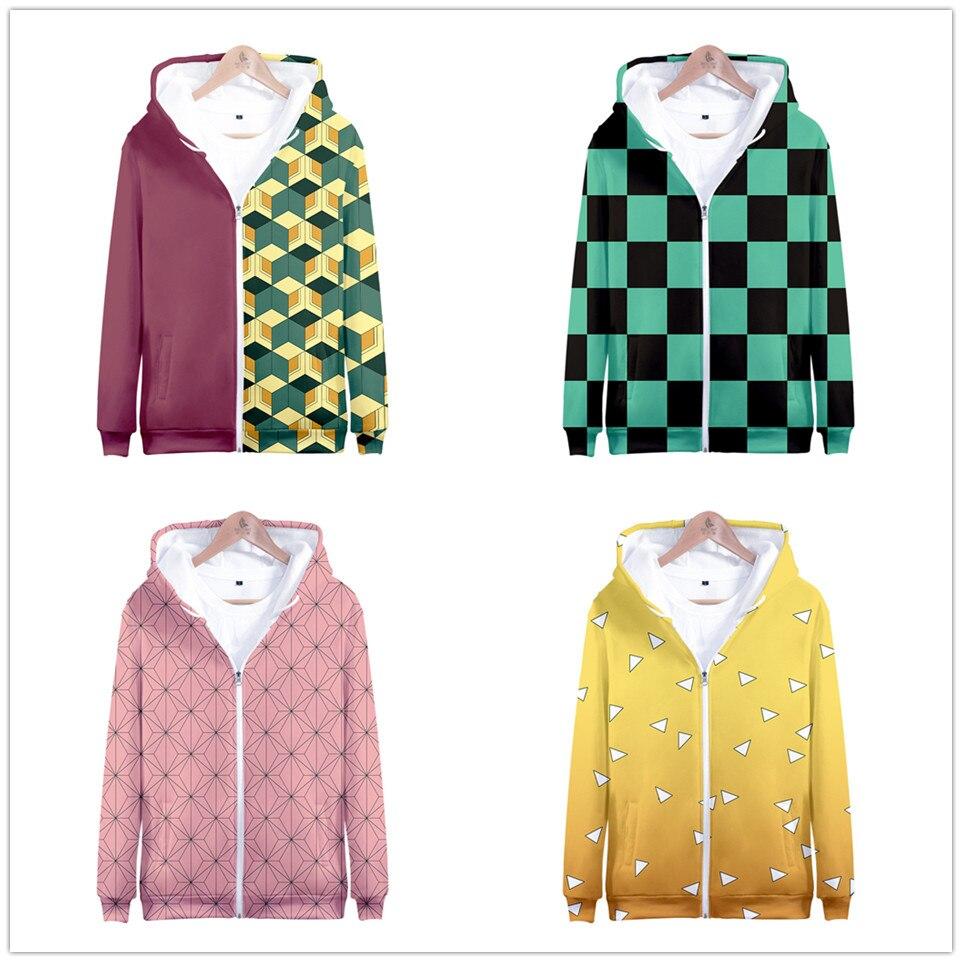 Anime Demon Slayer Kimetsu No Yaiba Tanjiro Kamado Hoodies Men Women Fashion Harajuku Hoodie Sweatshirt Oversized Jacket Clothes