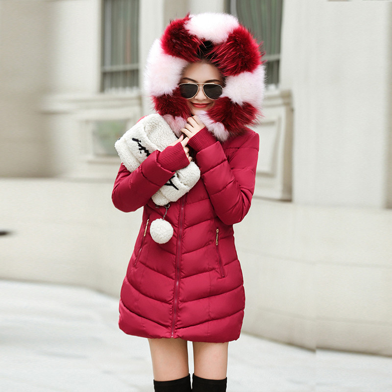 Hat Detachable Gloves Snow-Coat New Winter Parkas Fur-Collar Jacket-25 Long Warm Thick
