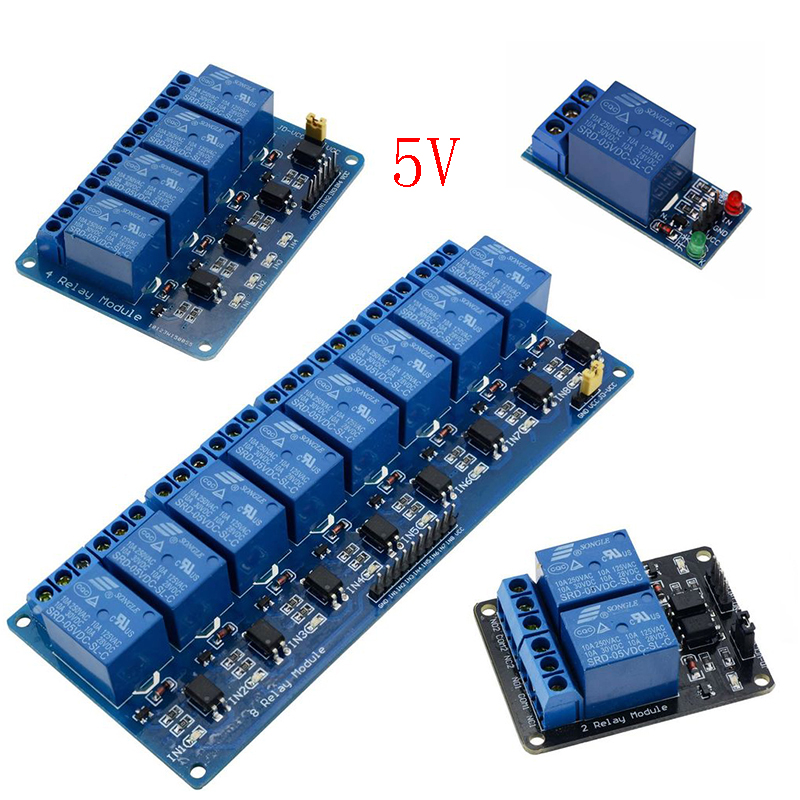 5V <font><b>1</b></font> 2 4 8 channel Relay module with optocoupler Relay <font><b>5</b></font> V Output <font><b>1</b></font> 2 4 8 way Relay module For arduino Expansion Board image