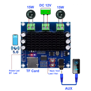 Image 1 - TDA7297 2*15W Bluetooth 5.0 Class AB Amplifier Board Stereo Dual Channel AUX / Bluetooth / TF Card Amp