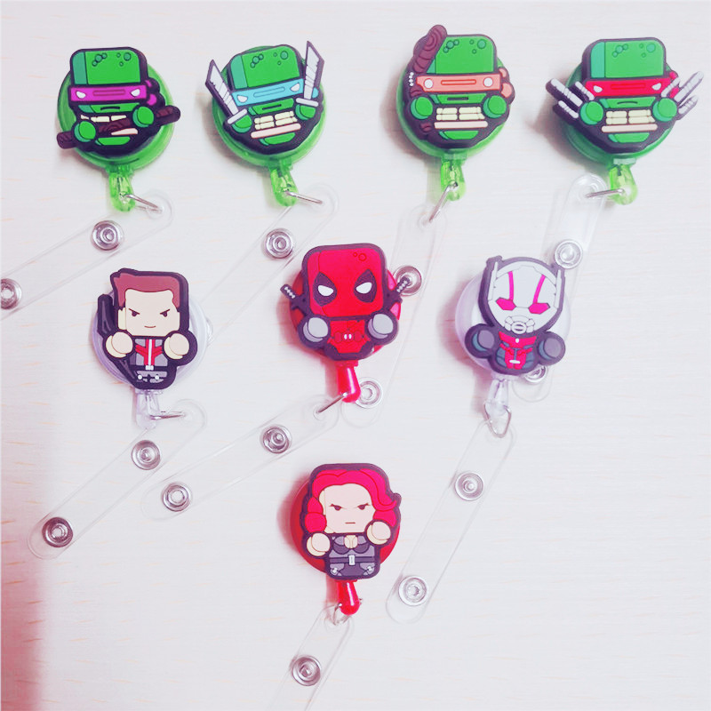 The Avengers Captain America Retractable Badge Reel High Quality Silicone Cartoon Student Nurse ID Name Card Badge Holder