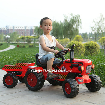 Children Activity Tractor Suit For 2-6ages, Outdoor Ground Force Tractor with Trailer, Kids Pedal Go-karts