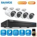 SANNCE 5MP 8CH CCTV Видео Безопасность Открытый ночного видения Водонепроницаемый IP камера контроль системы видеонаблюдения POE H.265 8CH NVR комплект
