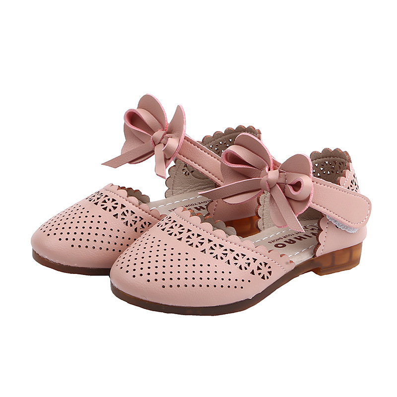 2020 Spring Summer Sandals Girls Princess With Bow-knot Children Half Sandals Kids Flat Shoes Breathable Hollow Cut-outs 21-36