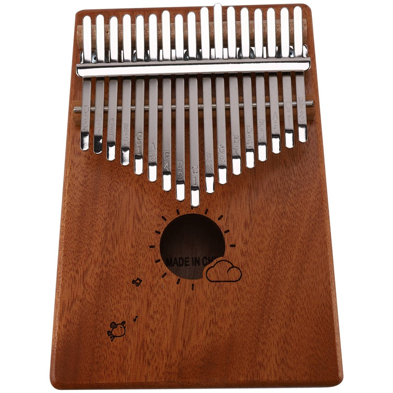 17 Keys Kalimba Thumb Piano Mbira Mahogany Solid Wood With Carry Bag Storage Case Tuning Hammer Music Book Stickers