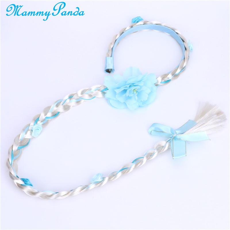 Elsa Hair Wrap Clips Baby Girl Kids Headbands Princess Long Wigs Hair Braid Headwear Girls Hair Accessories Baby Turban Haarband