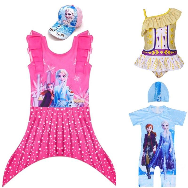 Frozen Anna Elsa Girls Swimwear Bathing Suits Baby Swimsuit Summer Mermaid Girls Bikini Lovely Child Swimsuit Beachwear Backless