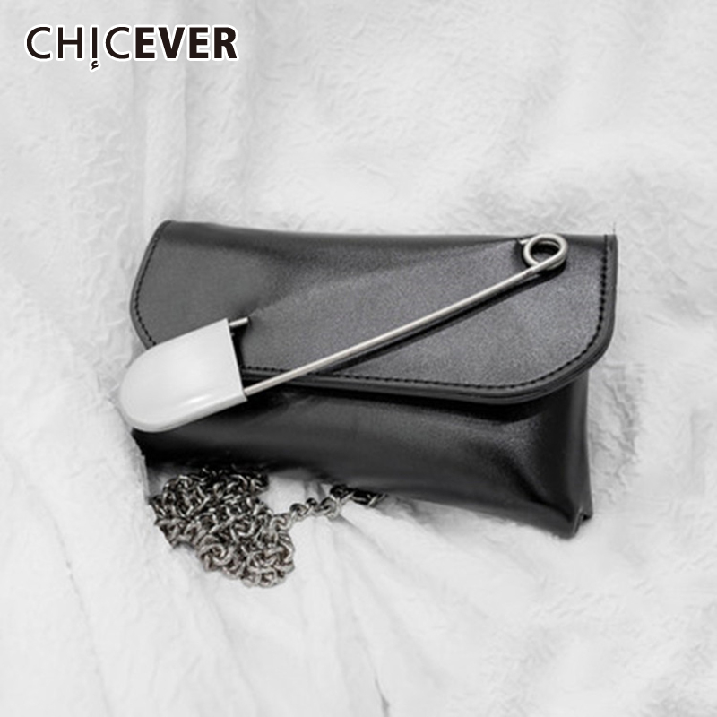 CHICEVER Pu Leather Patchwork Big Pin Female Bags High Waist Tunic Adjustable Clothing Accessories Women Bags 2020 Fashion New
