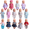 43 Cm Boy American Dolls Clothes Print Pajama Dress Casual Home Suit Newborn Baby Toys Accessories Fit 18 Inch Girls Doll a6