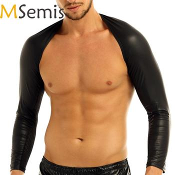 MSemis Sexy Lingerie Clubwear Men Faux Leather Top Hot Bondage T-Shirts Gay Leather Harness Arm Warmers Mens Costumes 1