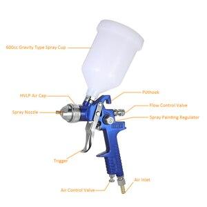 Image 3 - Nasedal Hvlp Luchtspuitpistool Paint Spuit 1.4Mm/1.7Mm 600Ml Gravity Feed Airbrush Kit Auto Meubels schilderen Spuiten Tool
