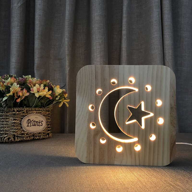 FS T1888 Cross Border Moon Star Lamp Customizable LED Solid Wood Small Night Lamp New Style 3D Lamp|Night Lights| |  - title=