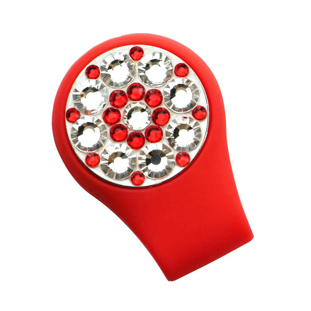 Crystal Golf Ball Marker Golf Hat Clip Sets 1pc Golf Marker en 1pc Siliconen Golf Cap Clip Beste golfcadeaus voor dames Golfer