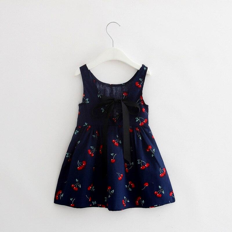 Vestido de niña vestidos de algodón para niños vestido de moda para niños sin mangas para Niñas Ropa de estampado de cereza para niñas