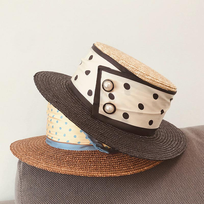 2020 New Handmade Natural Wide Brim Straw Hat Patchwork Summer Beach Hat Elegant Ribbon Flat Lady Derby Dress Sun Hat Canotier