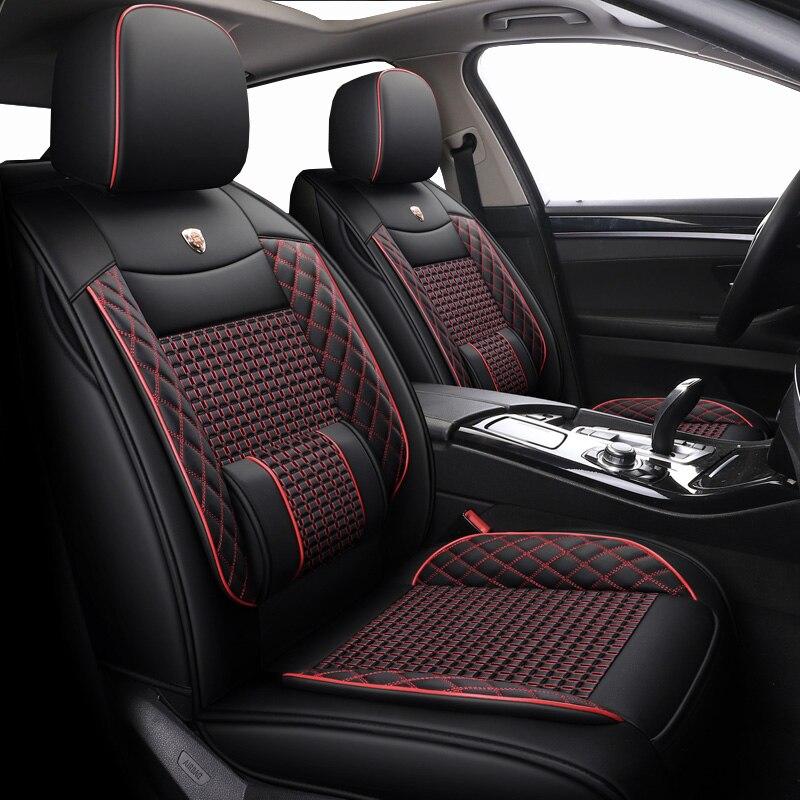 Housses de siège auto 5 places en cuir et soie glacée pour kia soul morning picanto daewoo lanos nexia toyota aqua aygo zotye t600