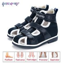 Princepard primavera verão crianças sandálias ortopédicas 2020 novo dedo do pé fechado arco de couro apoio correção sapatos da criança meninas meninos
