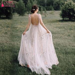 Image 3 - Meticlously Borduren Trouwjurken Dromerige Bohemian Bruidsjurken Ruglooze Vestido De Noivas Chic Abiti Da Sposa ZW205