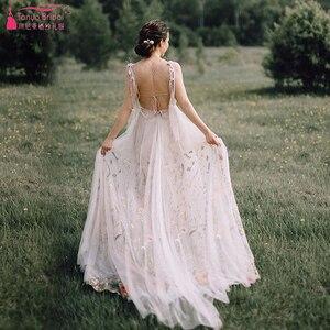 Image 3 - Meticlously vestidos De boda bordados vestidos De novia bohemios De ensueño con espalda descubierta Vestido De novia Chic Abiti da Sposa ZW205