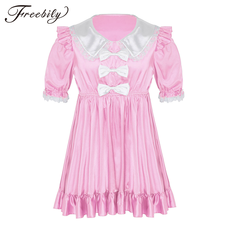 Men <font><b>Adult</b></font> Baby <font><b>Dress</b></font> Sissy <font><b>Sexy</b></font> Lace Bowknot Babydoll Mini <font><b>Dresses</b></font> Male Gay Cross Dresser Costume Club Party <font><b>Dress</b></font> Erotic Pajama image