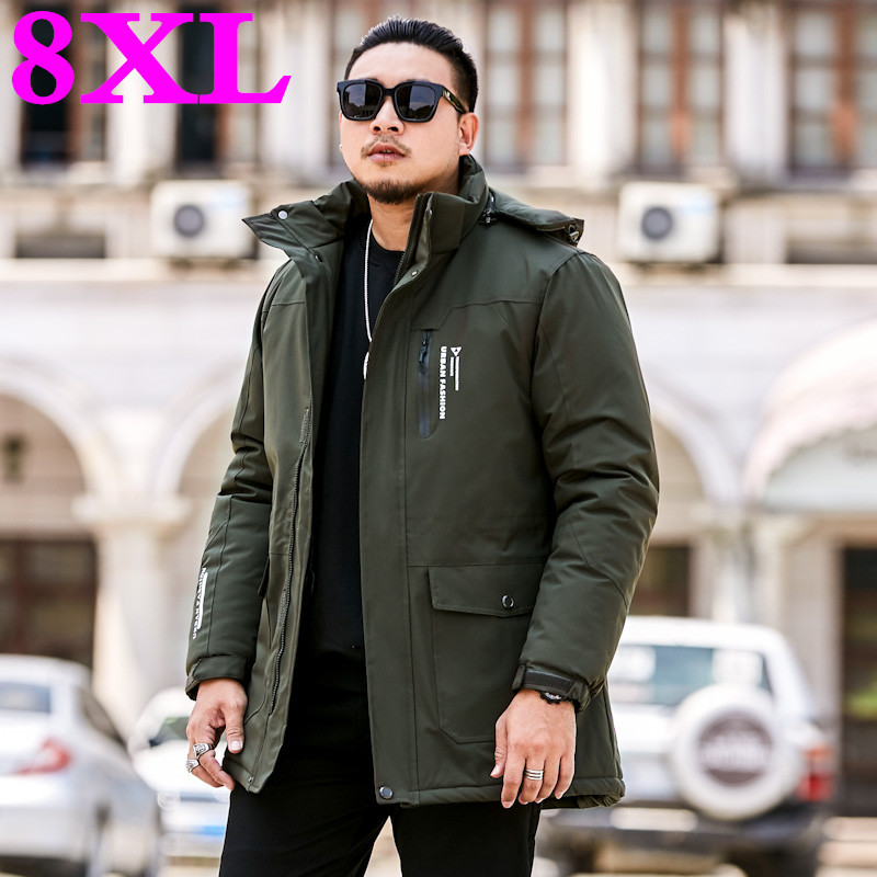 New 8XL 7XL 6XL Plus Size Male  Winter  High  Quality  Parka  Black  Deep Blue Jacket Men Casual Loose Mens Jacket Long Coats