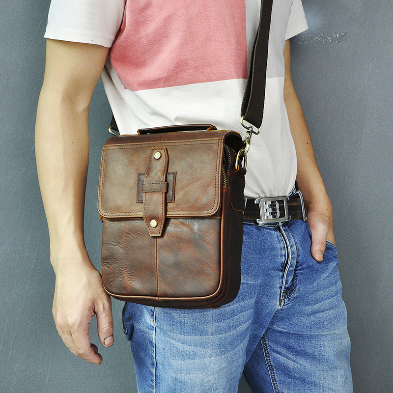 Genuine Original Leather Male Casual Shoulder Messenger Bag Design Fashion Cross-body Bag 8
