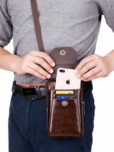 BULLCAPTAIN Bags Belt-Bag Phone-Pouch Waist-Packs Chest-Shoulder Small Genuine-Leather