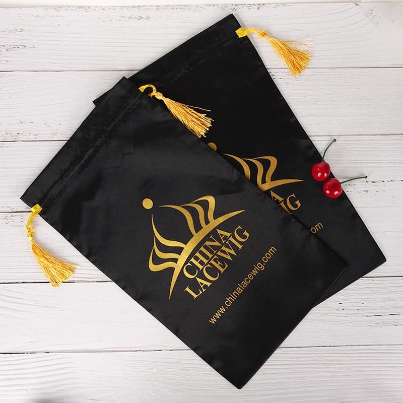 Luxury Hair Wig Packaging Bag Satin Silk Tassel Storage Bag Makeup Cosmic Tools Jewelry Bag 50pcs