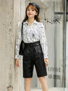 Woman Genuine Leather Midi long Black Trousers female 2020 High Waisted Belt Bermuda