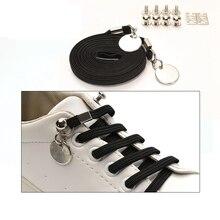 1 Pair Elastic Shoelaces Flat No Tie Shoe laces Kids Adult Leisure Sneakers Unisex Lazy Metal Buckle Quick lace