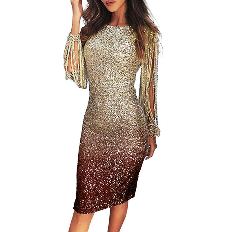Women's Dress Glitter Dress Slim Bodycon Dresses For Women Long Sleeve Clothes Sequin Evening Party Tassels Midi Dresses 5